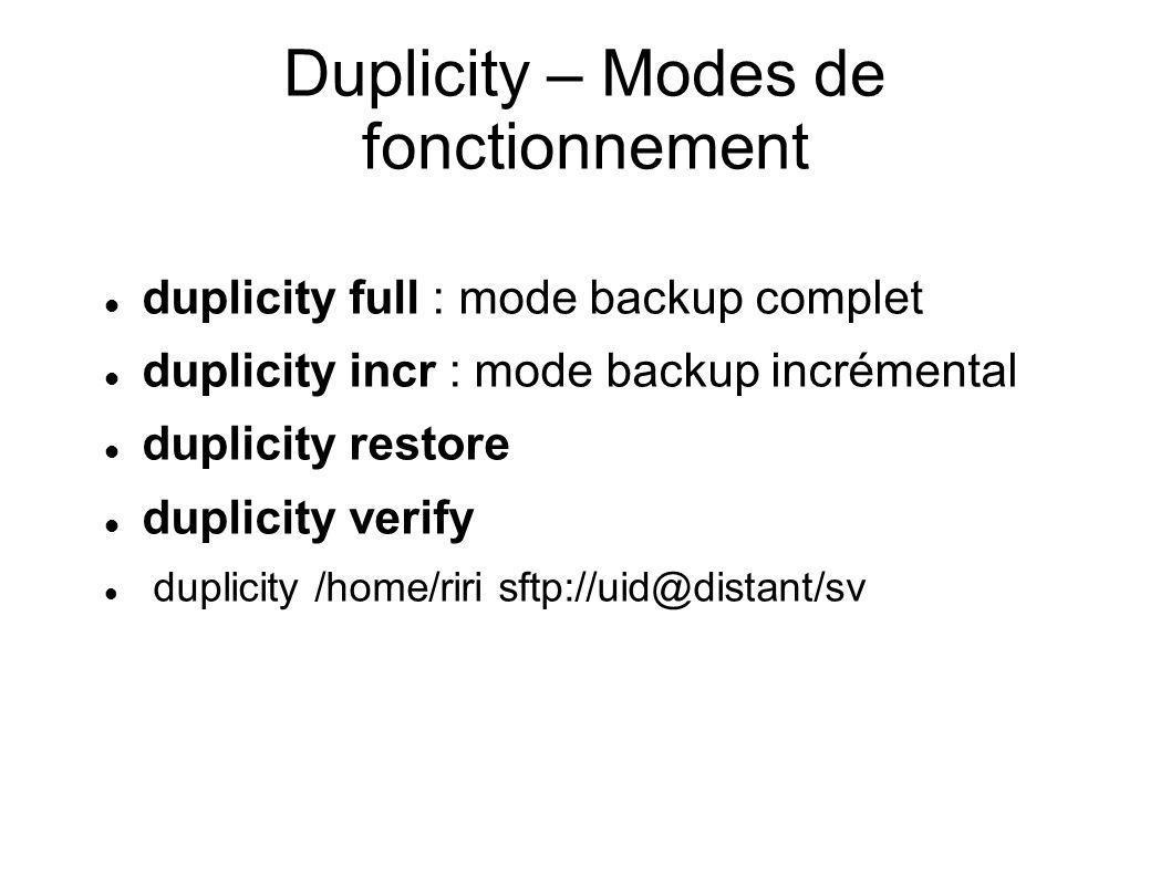 Duplicity – Modes de fonctionnement