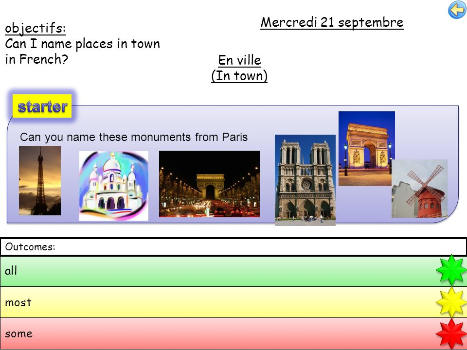 objectifs: Can I name places in town in French