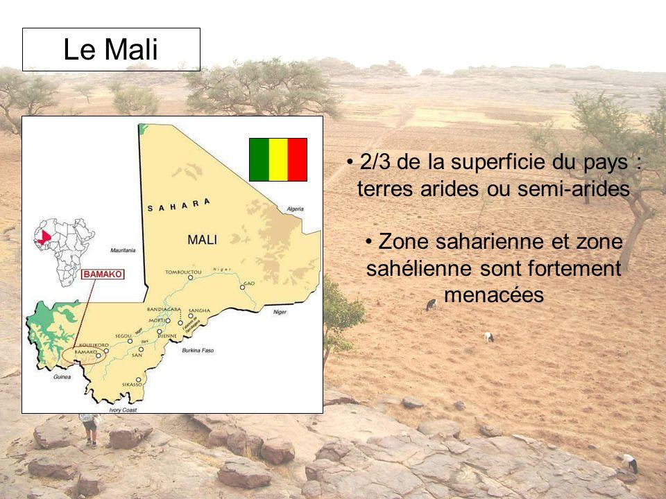 Le Mali 2/3 de la superficie du pays : terres arides ou semi-arides