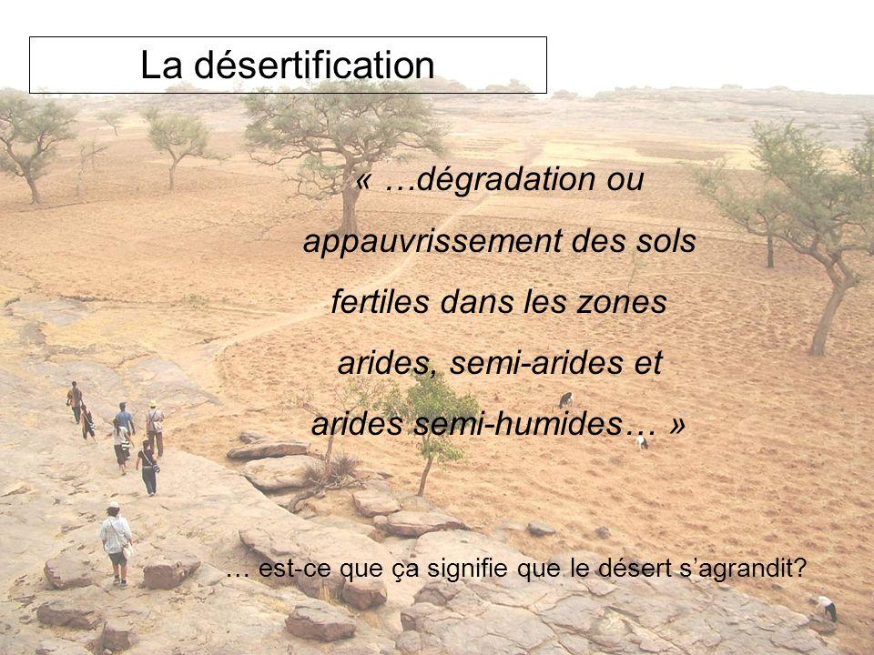 La désertification « …dégradation ou appauvrissement des sols