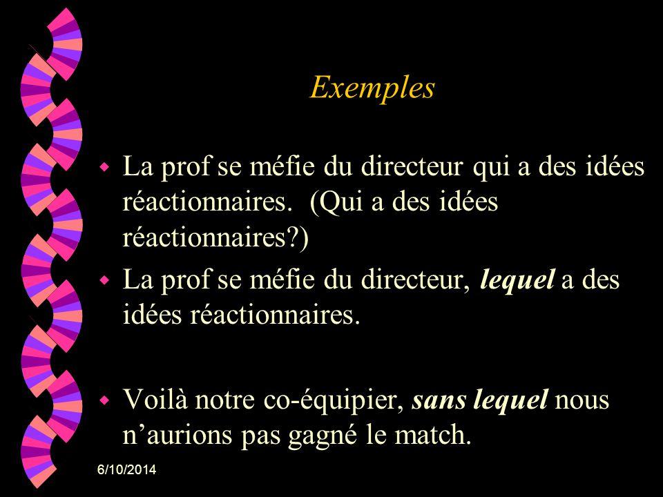 Exemples La prof se méfie du directeur qui a des idées réactionnaires. (Qui a des idées réactionnaires )