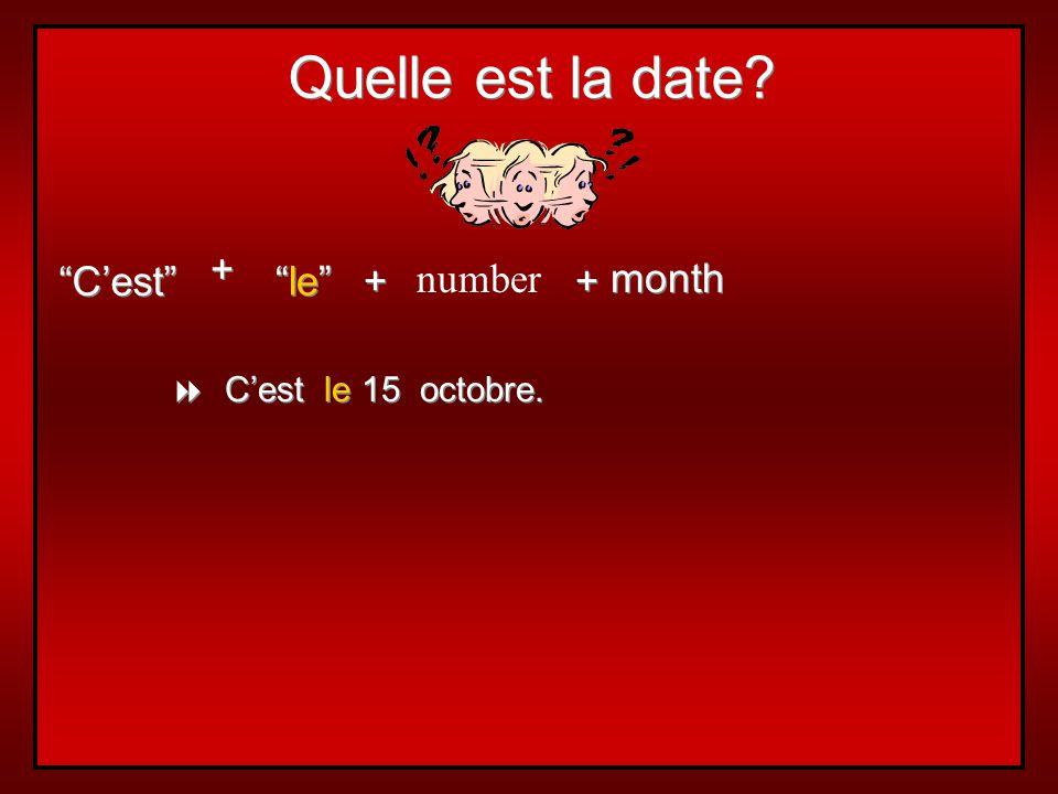 Quelle est la date + C'est le + number + month
