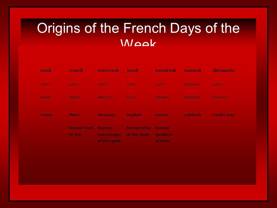 Origins of the French Days of the Week