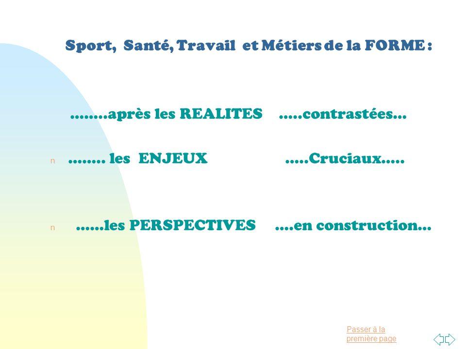 Sport, Santé, Travail et Métiers de la FORME :