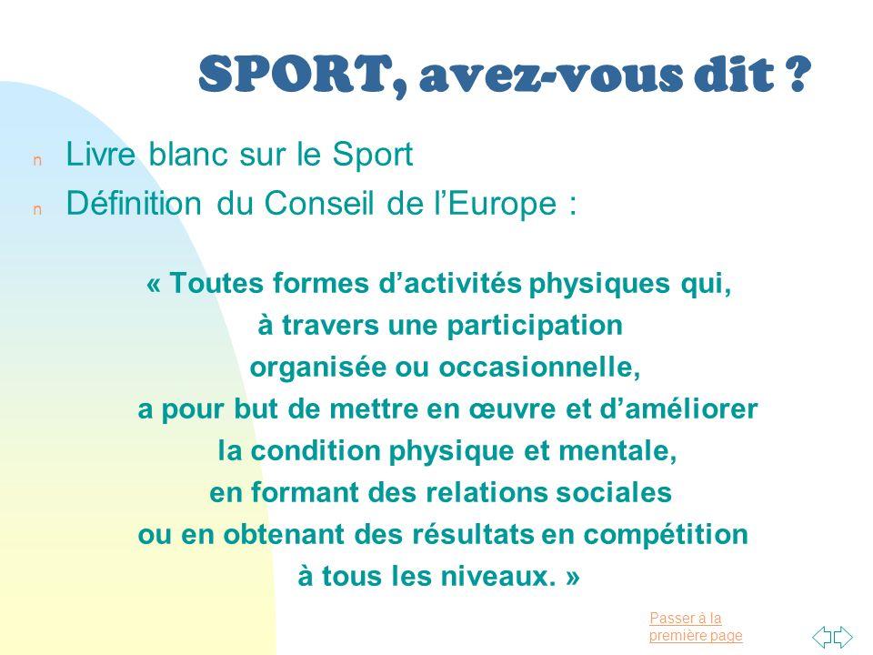 SPORT, avez-vous dit Livre blanc sur le Sport