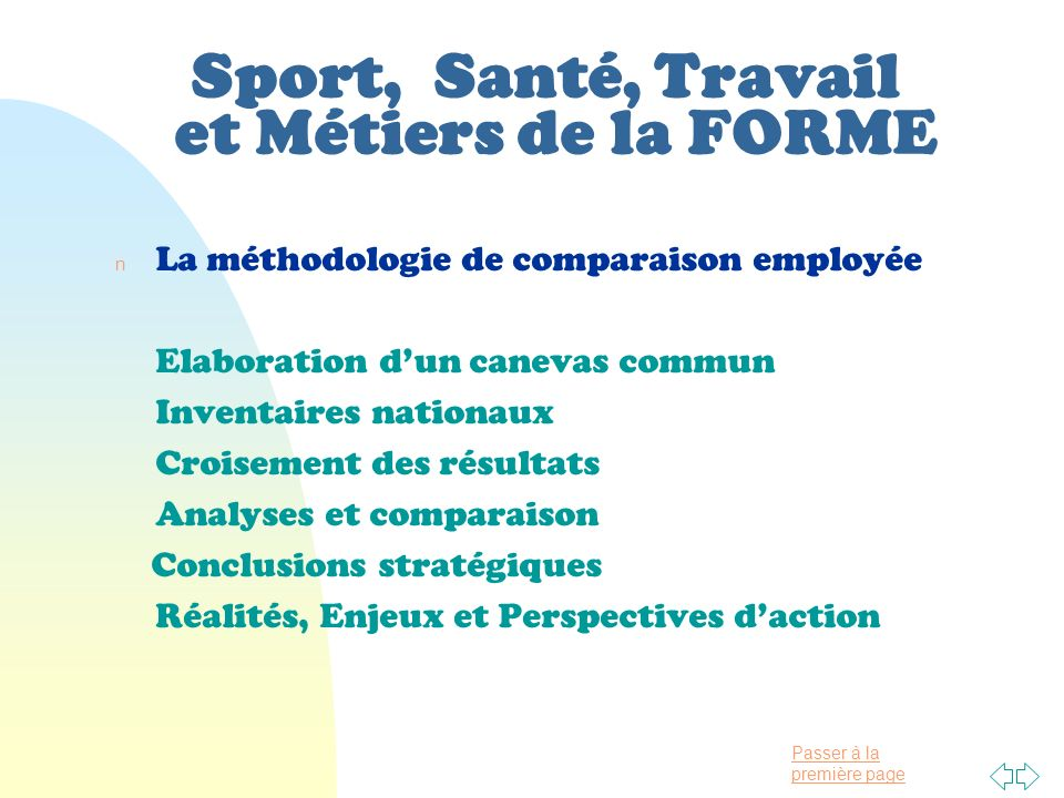 Sport, Santé, Travail et Métiers de la FORME