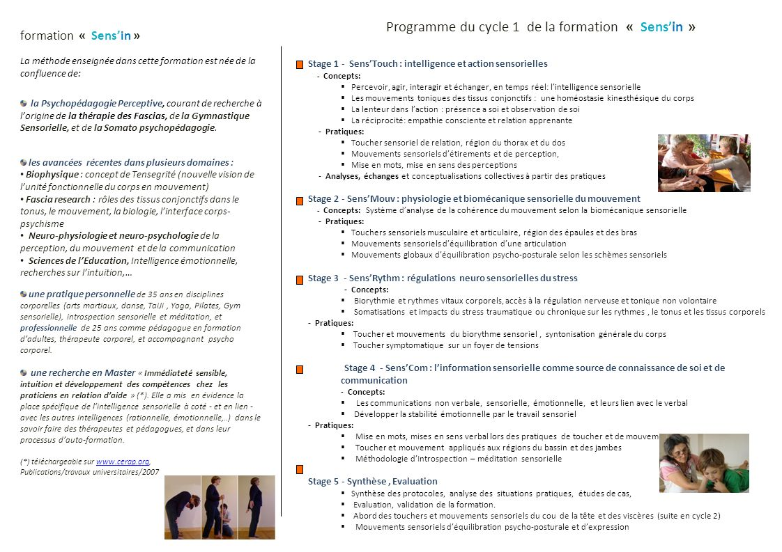 Programme du cycle 1 de la formation « Sens'in »