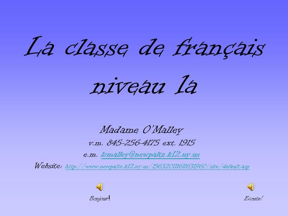La classe de français niveau 1a