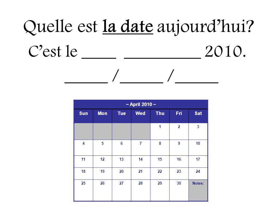 Quelle est la date aujourd'hui