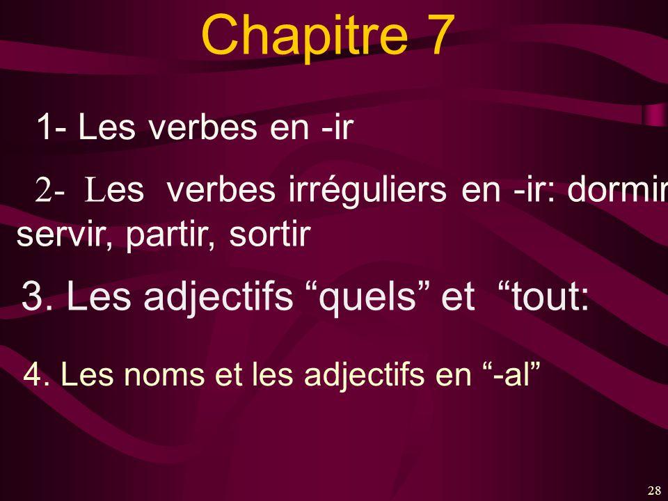 Chapitre 7 3. Les adjectifs quels et tout: 1- Les verbes en -ir