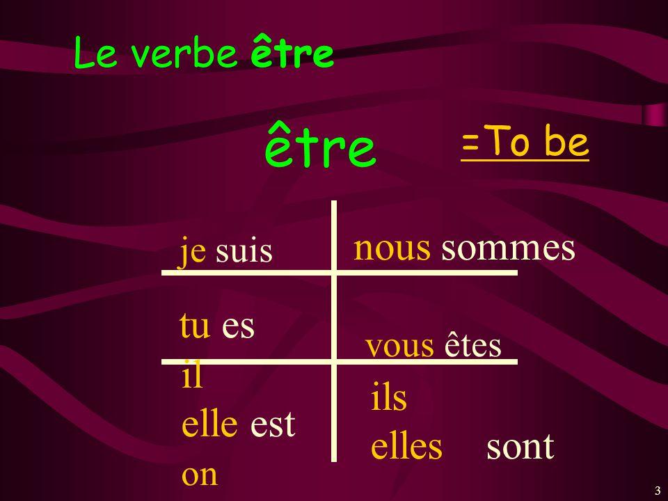 être Le verbe être =To be nous sommes tu es il ils elle est elles sont