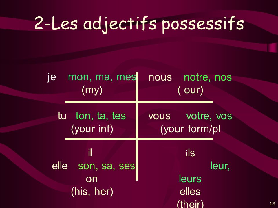 2-Les adjectifs possessifs