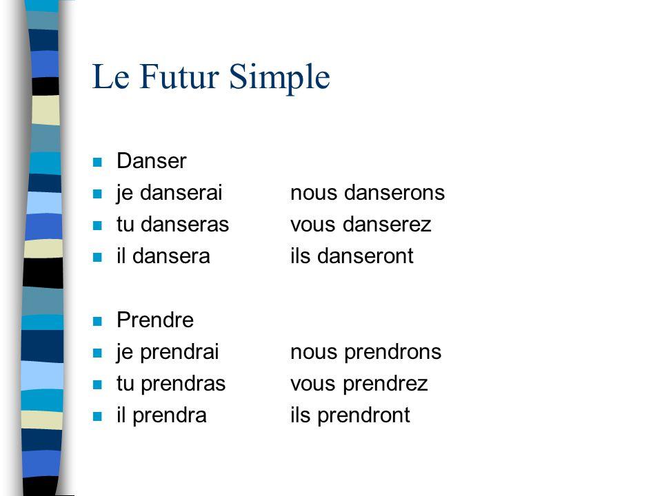 Le Futur Simple Danser je danserai nous danserons