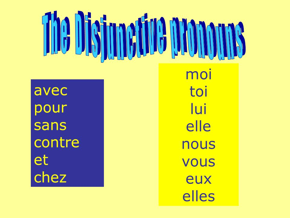 The Disjunctive pronouns