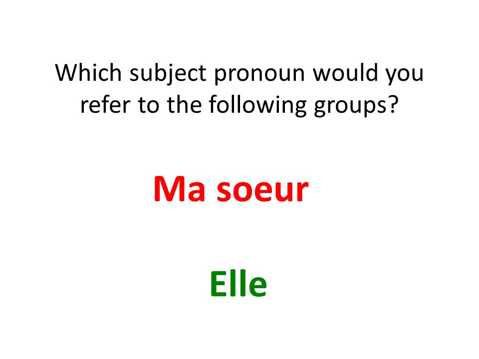 Which subject pronoun would you refer to the following groups