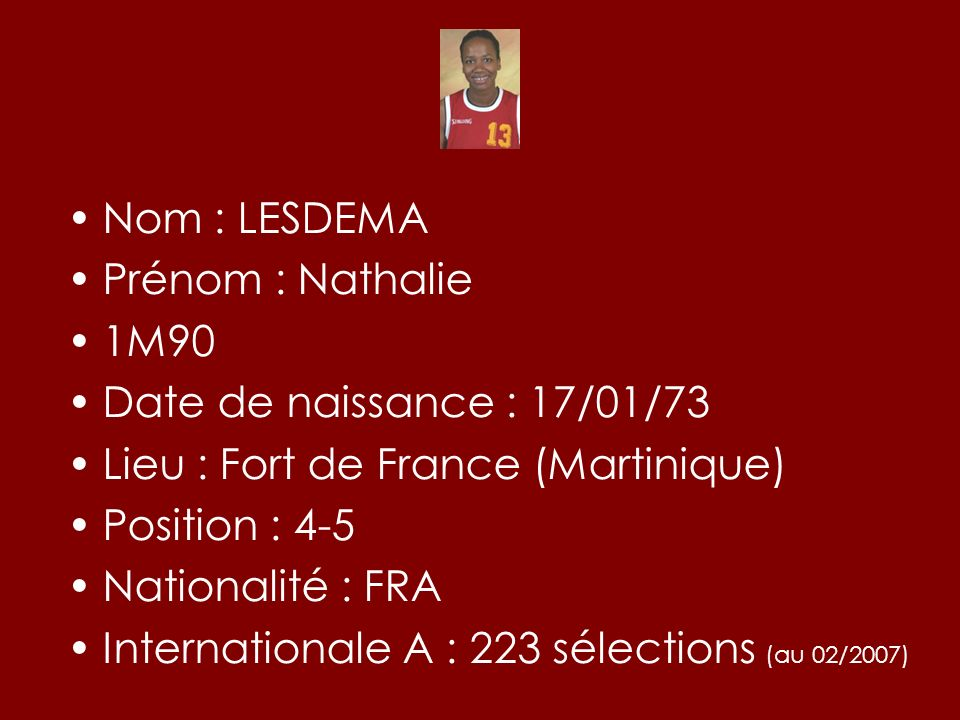 Nom : LESDEMAPrénom : Nathalie. 1M90. Date de naissance : 17/01/73. Lieu : Fort de France (Martinique)