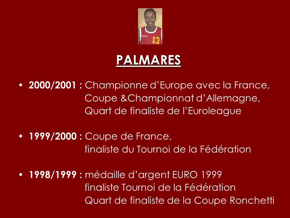 PALMARES 2000/2001 : Championne d'Europe avec la France,