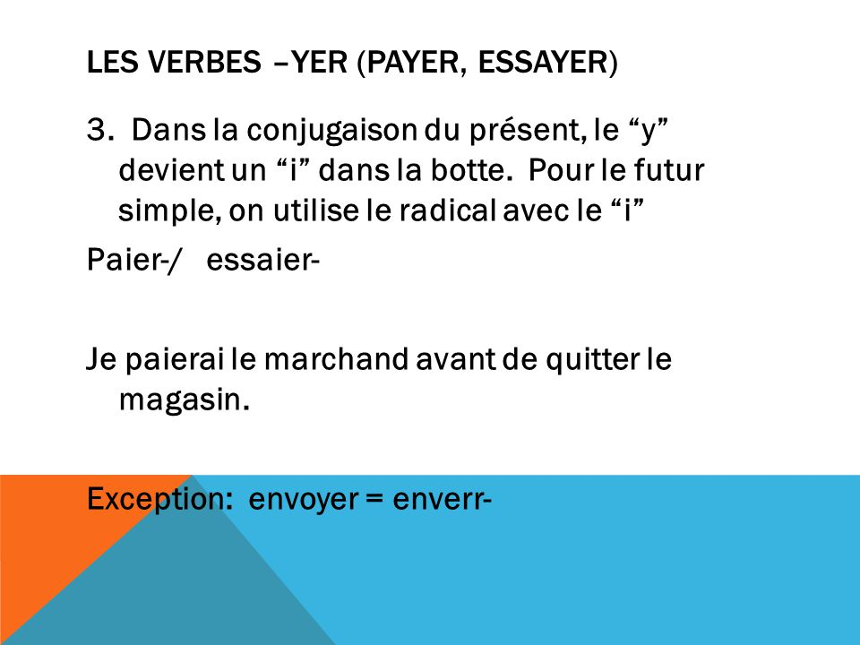 Les verbes –yer (payer, essayer)
