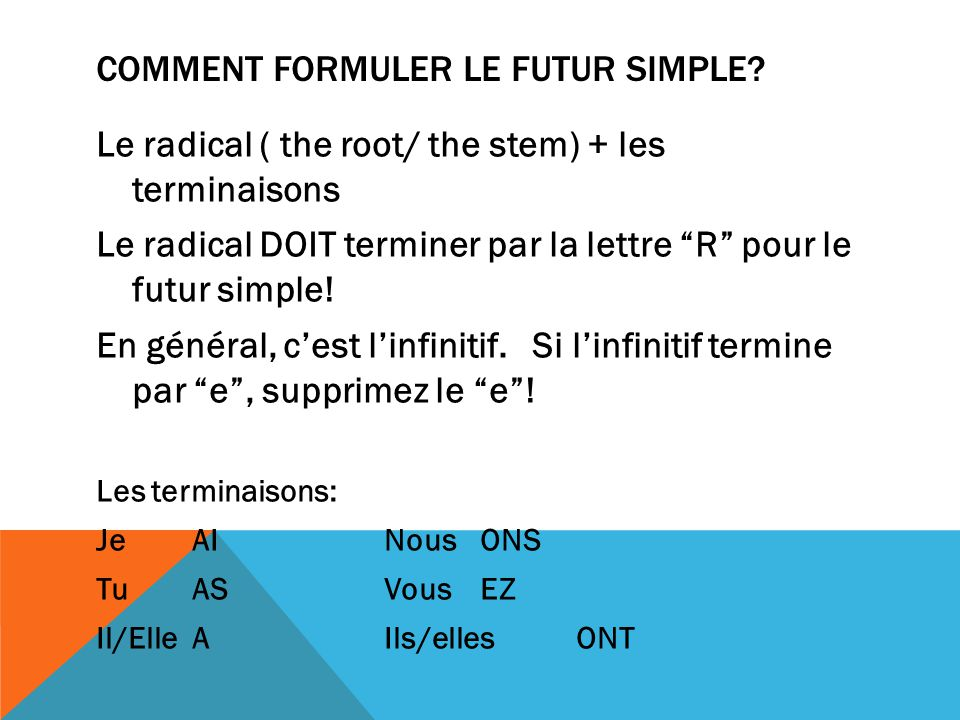 Comment formuler le futur simple
