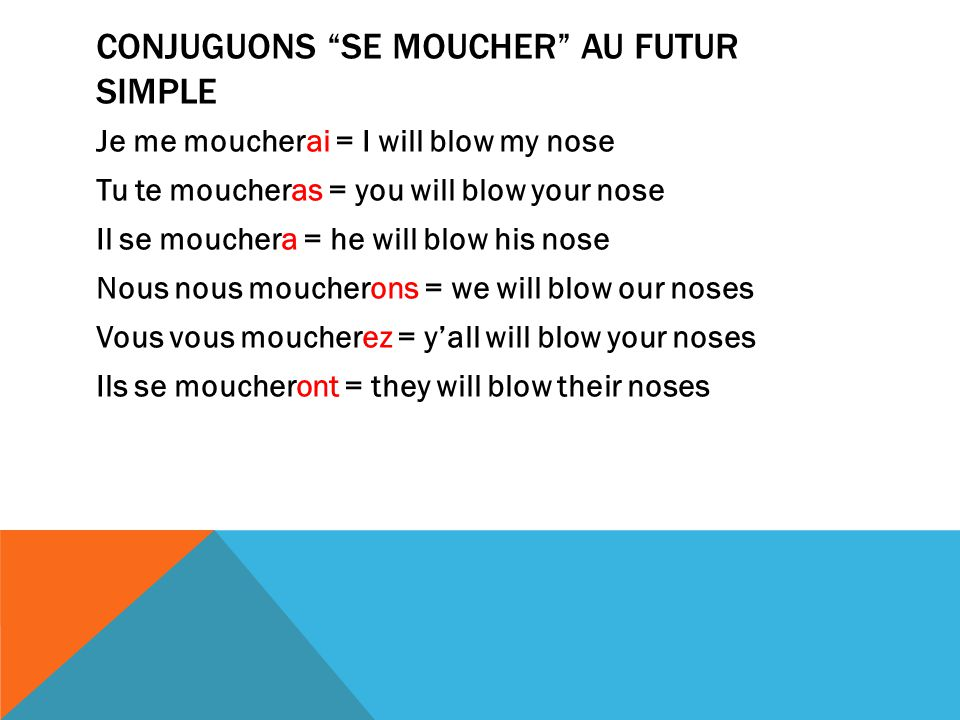 Conjuguons se moucher au futur simple