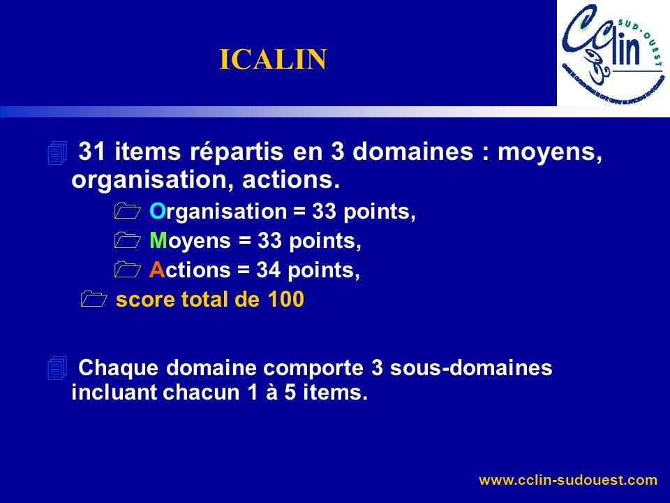ICALIN31 items répartis en 3 domaines : moyens, organisation, actions. Organisation = 33 points, Moyens = 33 points,