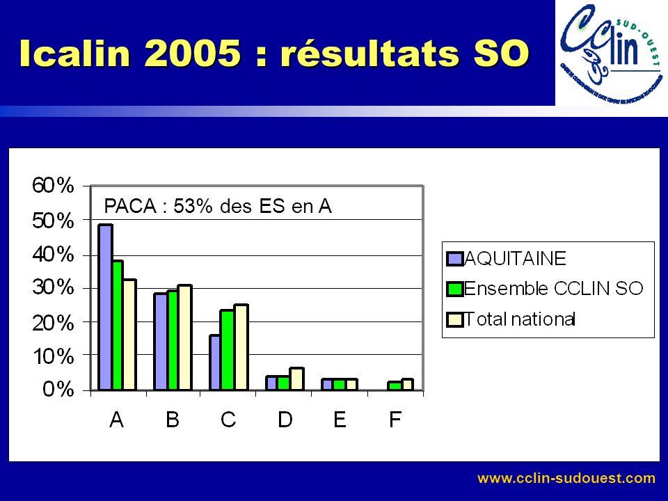 Icalin 2005 : résultats SO PACA : 53% des ES en A