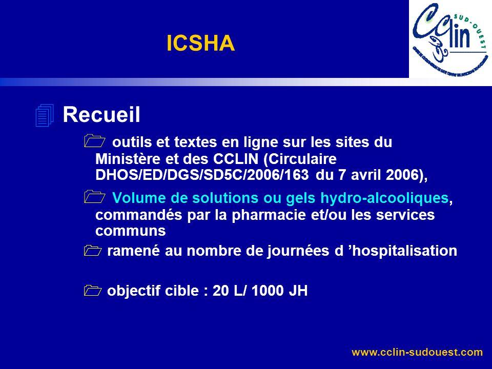 ICSHA Recueil. outils et textes en ligne sur les sites du Ministère et des CCLIN (Circulaire DHOS/ED/DGS/SD5C/2006/163 du 7 avril 2006),