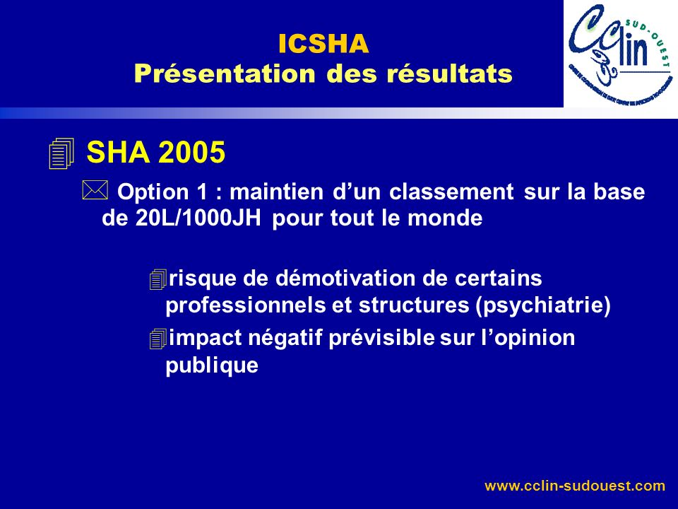 ICSHA Présentation des résultats