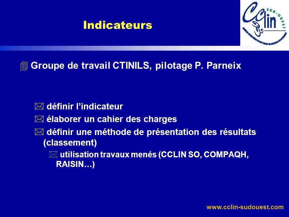 Indicateurs Groupe de travail CTINILS, pilotage P. Parneix