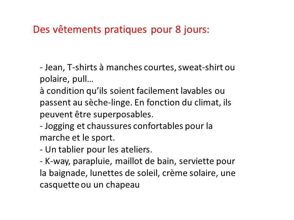 Des vêtements pratiques pour 8 jours: