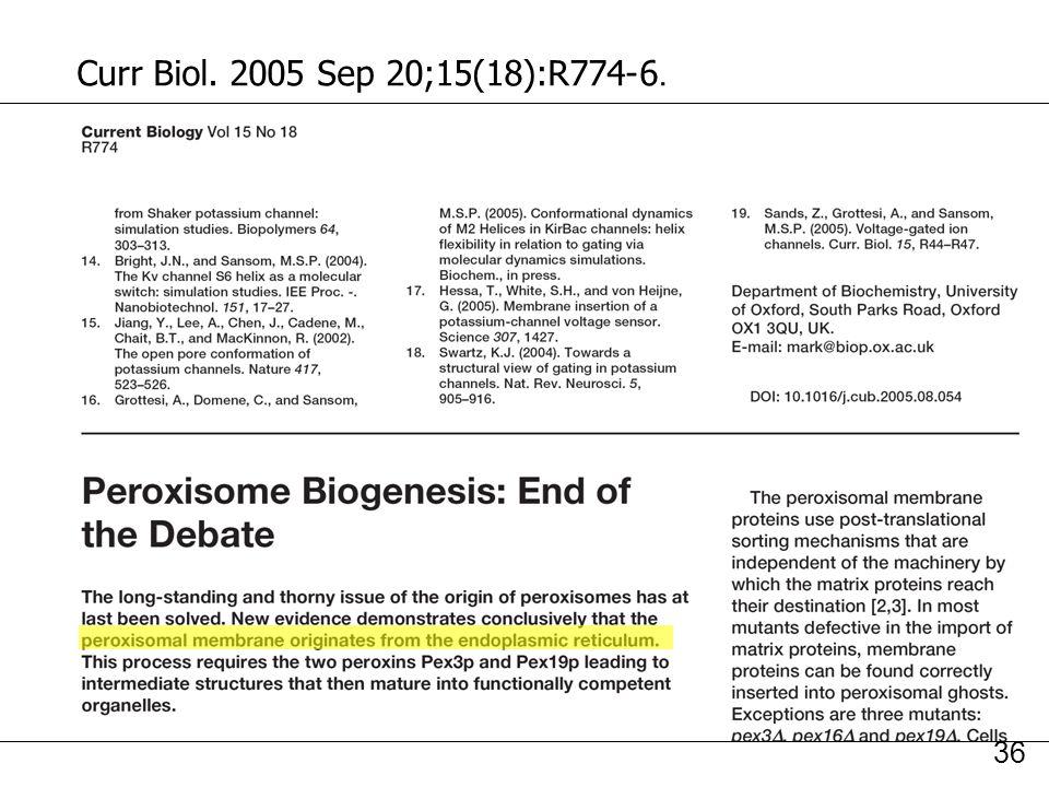 Curr Biol. 2005 Sep 20;15(18):R774-6. Kunau,WH2005pR774
