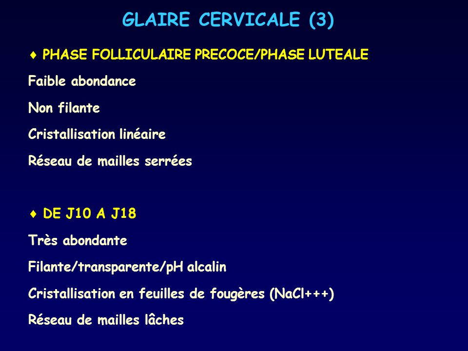 GLAIRE CERVICALE (3) PHASE FOLLICULAIRE PRECOCE/PHASE LUTEALE