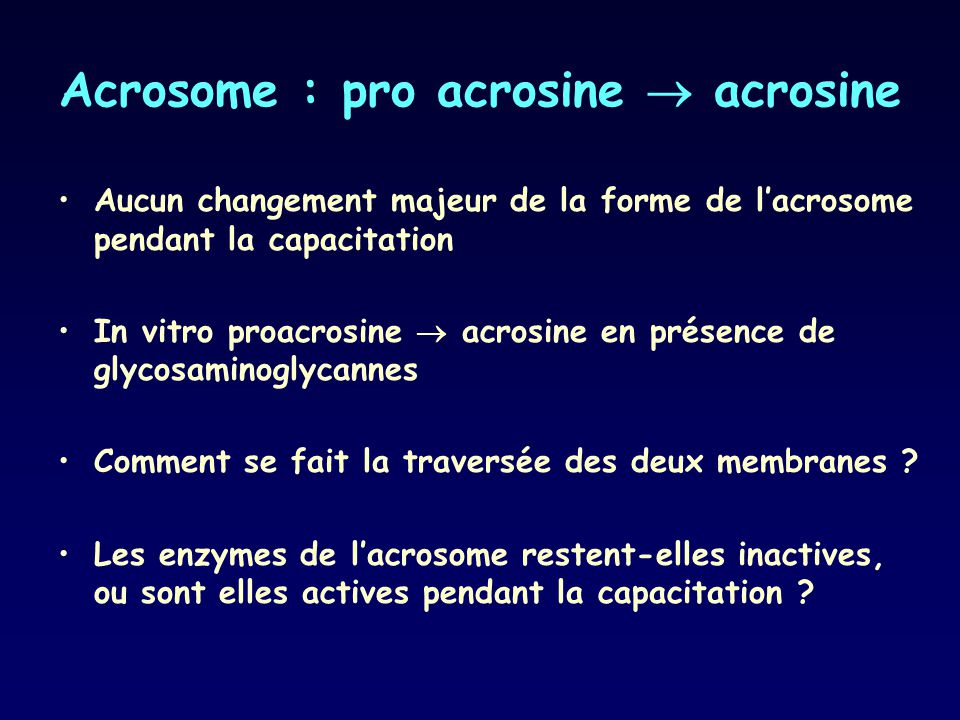 Acrosome : pro acrosine  acrosine