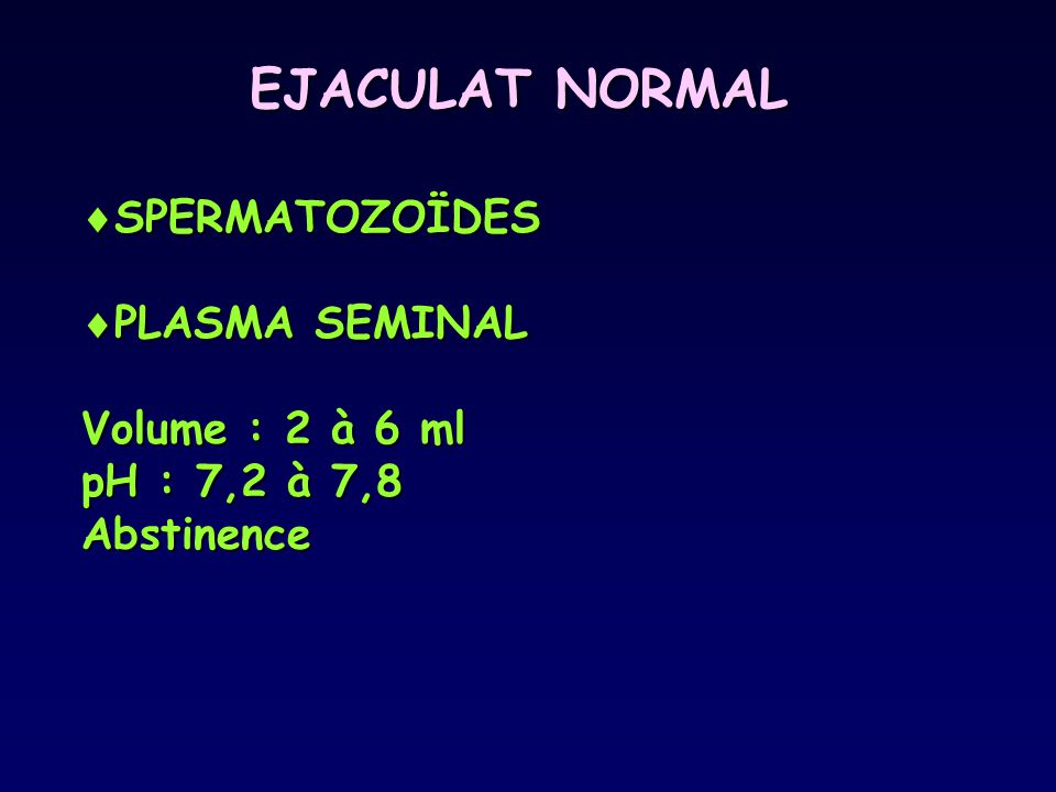 EJACULAT NORMAL SPERMATOZOÏDES PLASMA SEMINAL Volume : 2 à 6 ml