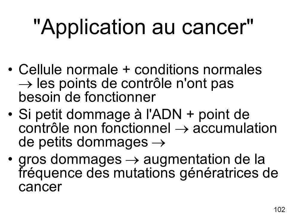 Mardi 23 janvier 2006 Application au cancer Cellule normale + conditions normales  les points de contrôle n ont pas besoin de fonctionner.
