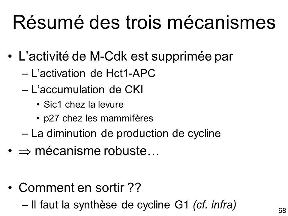 Résumé des trois mécanismes