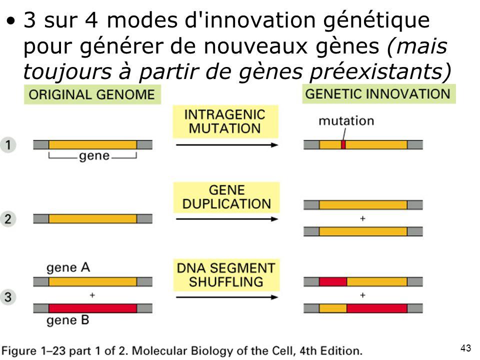 3 sur 4 modes d innovation génétique pour générer de nouveaux gènes (mais toujours à partir de gènes préexistants)