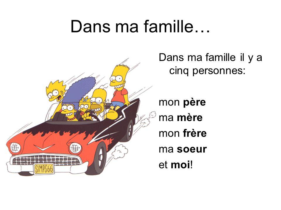 Dans ma famille… Dans ma famille il y a cinq personnes: mon père