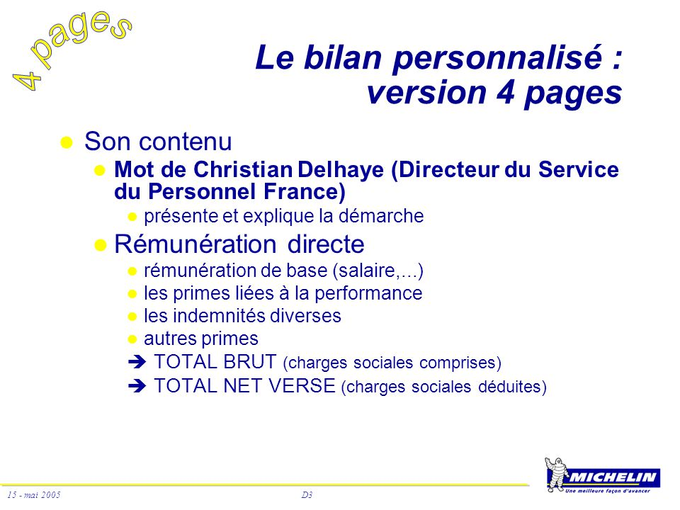 Le bilan personnalisé : version 4 pages