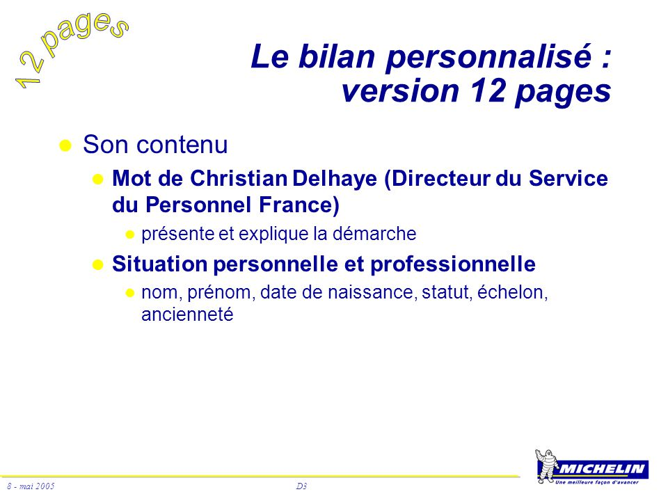 Le bilan personnalisé : version 12 pages