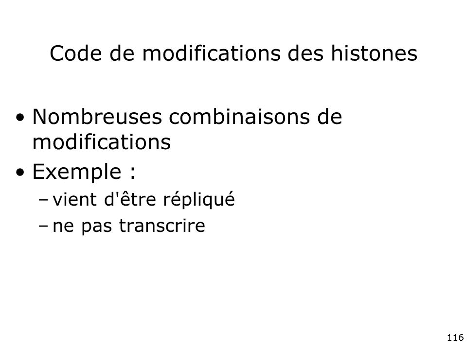 Code de modifications des histones