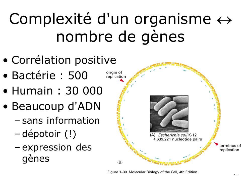 Complexité d un organisme  nombre de gènes