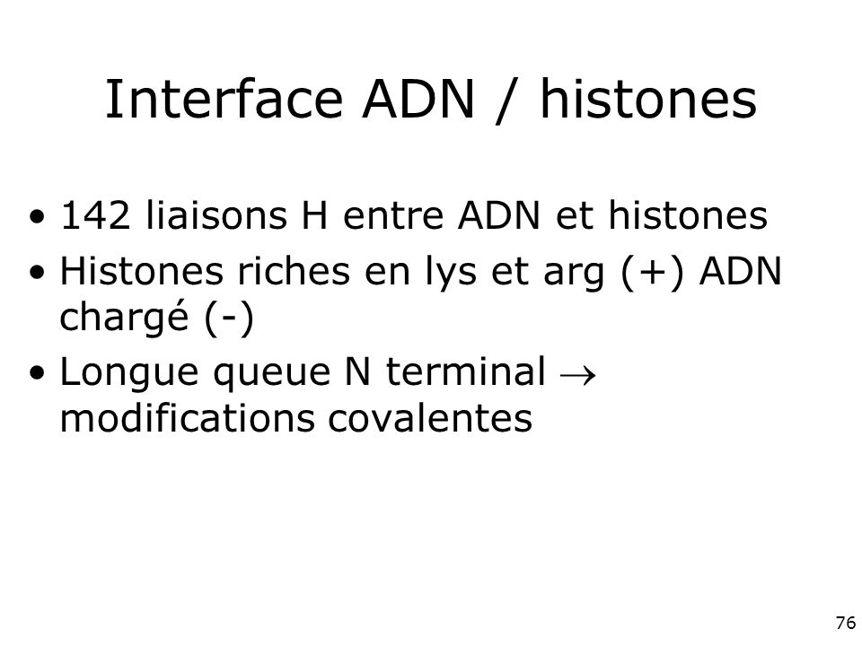 Interface ADN / histones