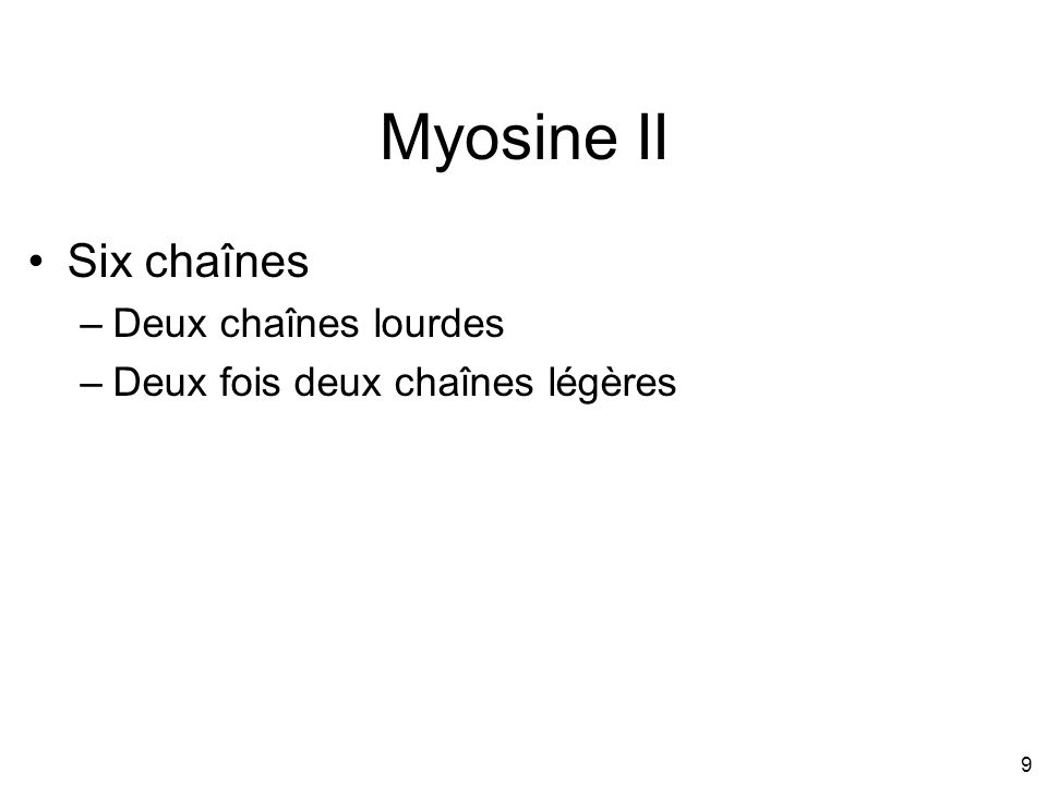 Myosine II Six chaînes Deux chaînes lourdes