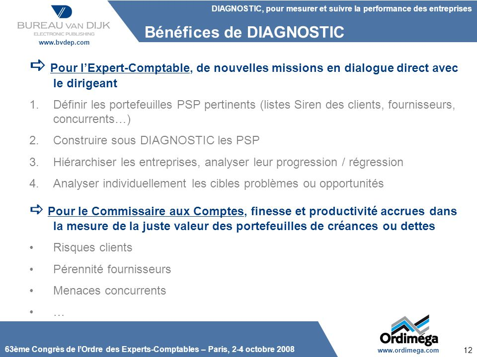 Bénéfices de DIAGNOSTIC