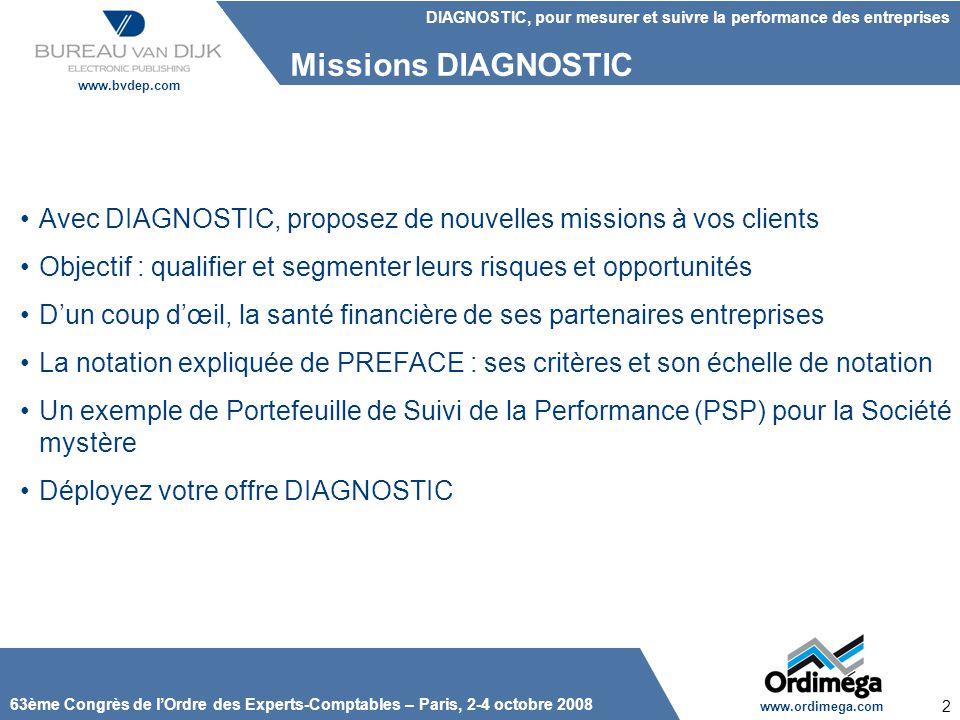 Missions DIAGNOSTIC Avec DIAGNOSTIC, proposez de nouvelles missions à vos clients. Objectif : qualifier et segmenter leurs risques et opportunités.