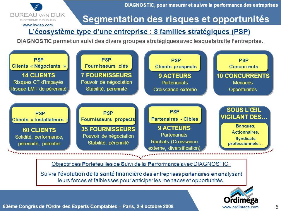 L'écosystème type d'une entreprise : 8 familles stratégiques (PSP)