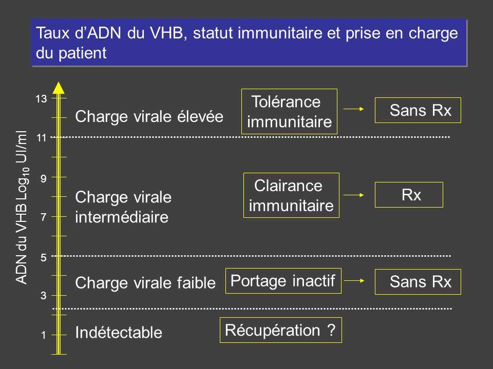 Taux d'ADN du VHB, statut immunitaire et prise en charge du patient