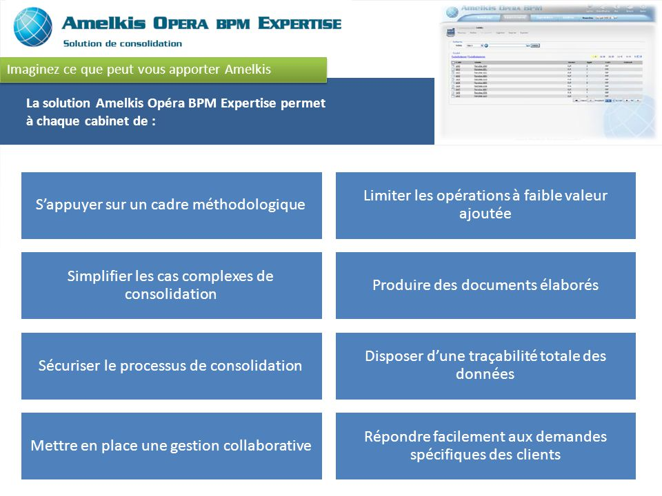 La solution Amelkis Opéra BPM Expertise permet à chaque cabinet de :