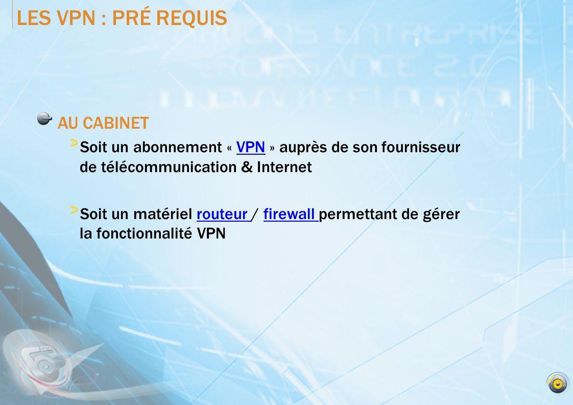 LES VPN : PRÉ REQUIS AU CABINET